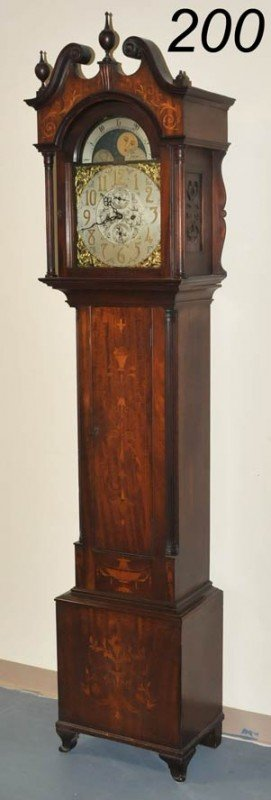 200: VICTORIAN MARQUETRY TALL CLOCK with gong chime cir