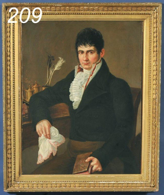 209: FRENCH SCHOOL PORTRAIT OF A GENTLEMAN WITH BOOK 33