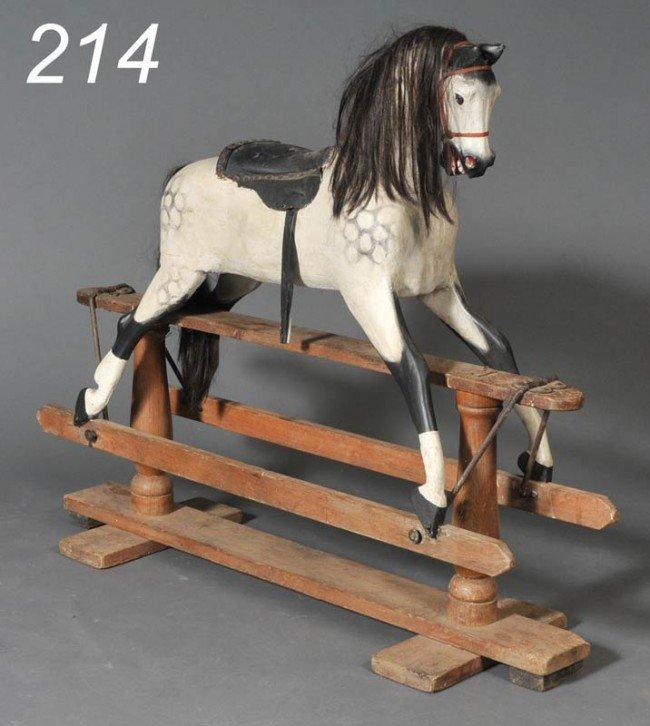 214: VICTORIAN GLIDER HORSE with partial retailer's lab