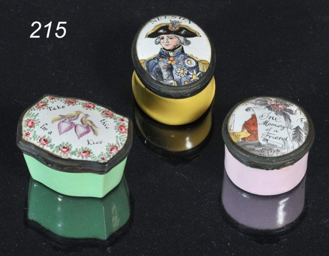 """215: GROUP OF (3) BATTERSEA PATCH BOXES largest 2"""" acro"""