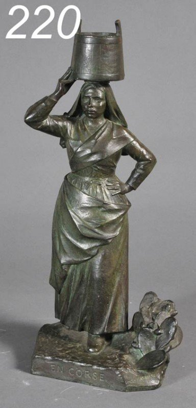 "220: LOUIS PATRIARCHE The Laundress 20 3/8"" high, bronz"