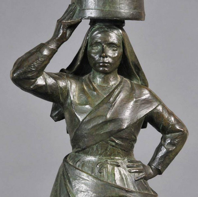 "220: LOUIS PATRIARCHE The Laundress 20 3/8"" high, bronz - 2"
