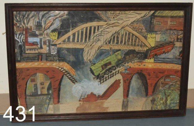 "431: OUTSIDER ART Railroad Bridge Collapse 18""x29"" wate"