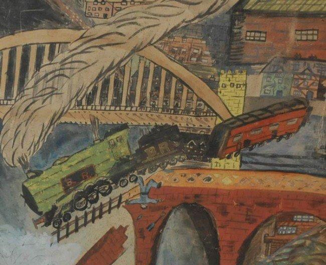 "431: OUTSIDER ART Railroad Bridge Collapse 18""x29"" wate - 2"