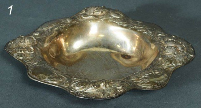 "1: GORHAM REPOUSSE STERLING BOWL 11"" diameter"