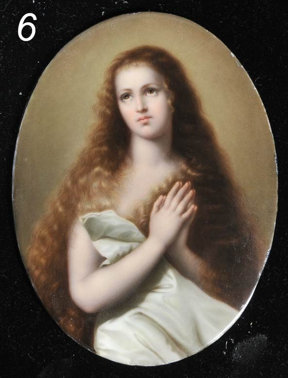 6: OVAL PAINTED PORCELAIN PORTRAIT A Devotional Young W