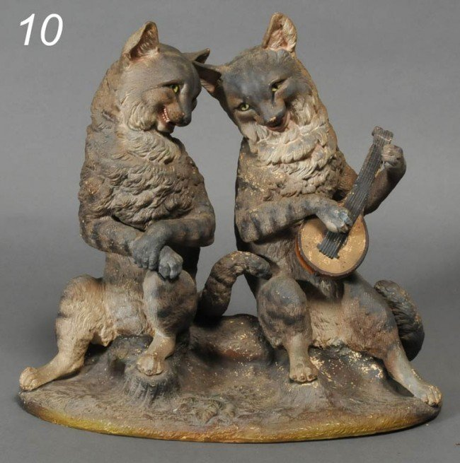 10: TERRACOTTA GROUP OF SEATED CATS one playing a lute