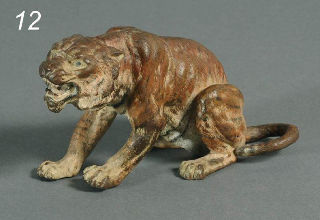 12: VIENNA BRONZE TIGER cold painted and stamped on bot