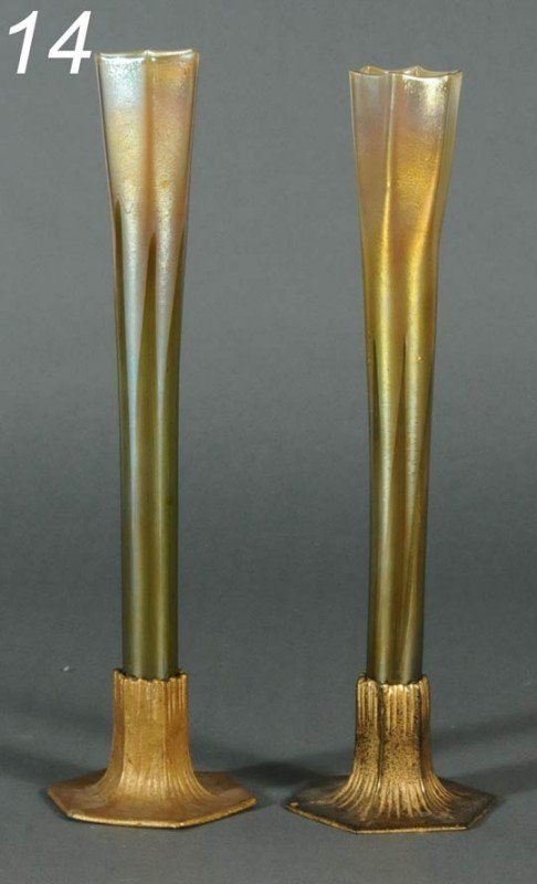 14: PAIR TIFFANY FAVRILE BUD VASES each with pulled fea