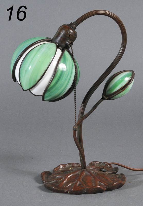 "16: HANDEL LILY DESK LAMP with bronze base 13 7/8"" high"