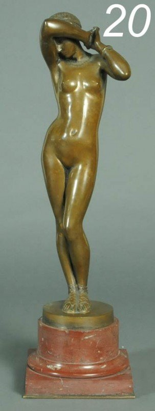 20: FRENCH BRONZE FIGURE OF A SLAVE GIRL cast by Goupil