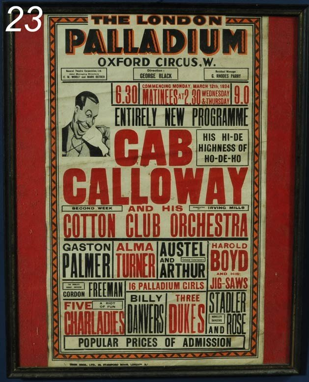 "23: CAB CALLOWAY POSTER The London Palladium 19 1/2""x 1"