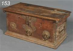 153: SPANISH BAROQUE WALNUT COFFER with iron mounts and
