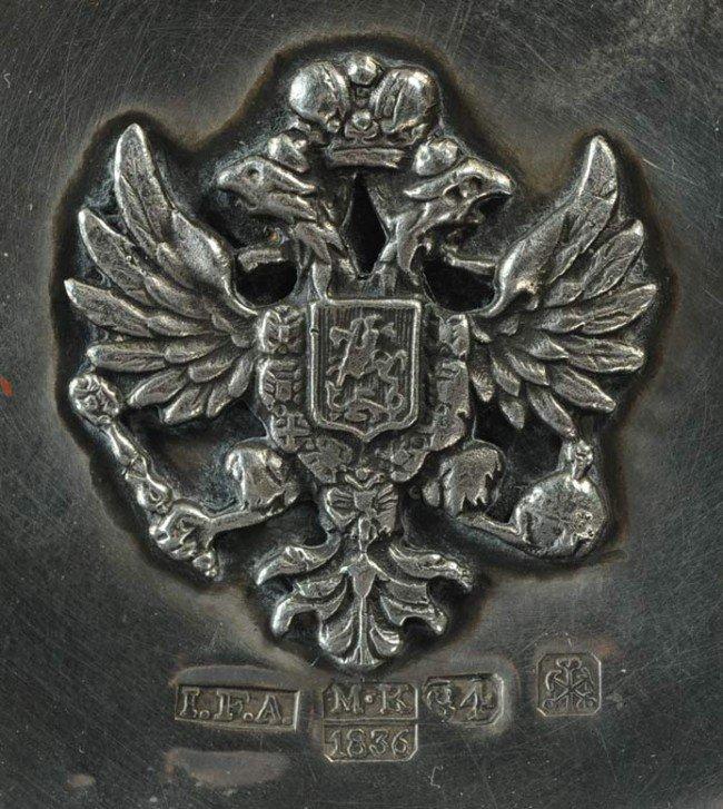176: RUSSIAN SILVER INKWELL hallmarked Johann Fridrik A - 3