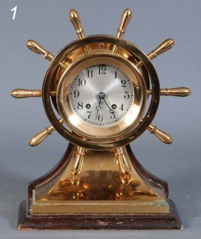 "1: CHELSEA SHIP'S BELL MANTLE CLOCK 3 3/4"" face, 13 1/2"