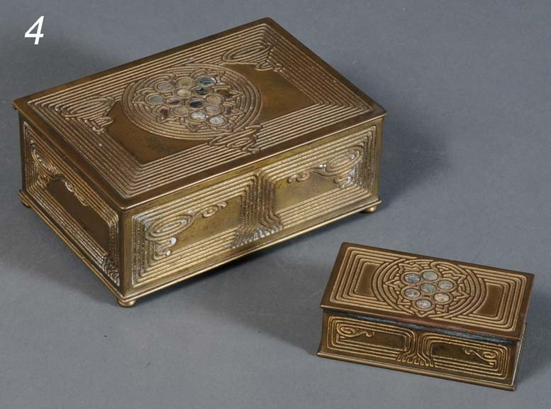 4: TIFFANY STUDIOS BRONZE DESK SET BOXES (a pair) Abalo