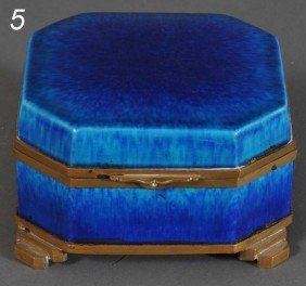 "SEVRES GLAZED CERAMIC DRESSER BOX 5""x 5""x 3"" Circa 1"