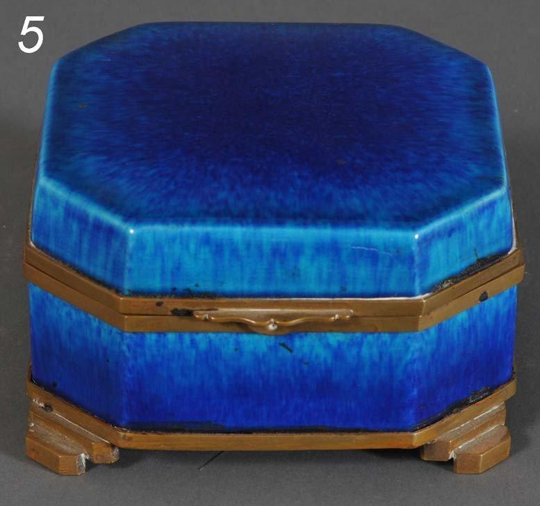 "5: SEVRES GLAZED CERAMIC DRESSER BOX 5""x 5""x 3"" circa 1"