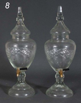 "PAIR OF ETCHED CRYSTAL LIQUOR DISPENSORS ""Brandy"" An"