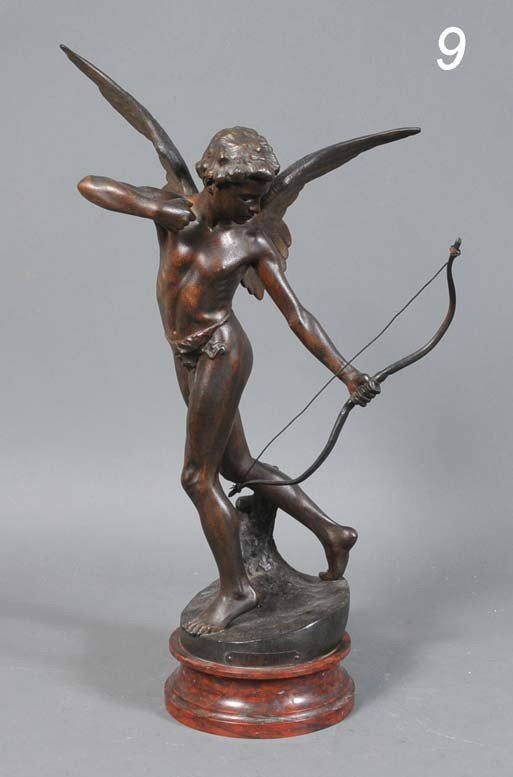 9: FRENCH CAST METAL FIGURE OF CUPID Amour L'Arc 23 1/2