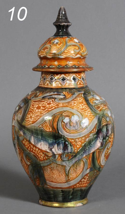 "10: DELFT LUSTER GLAZED URN with fish design 15"" high e"
