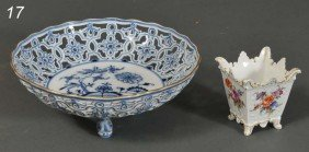 "MEISSEN OPENWORK BOWL With Dolphin Feet, 8"" Togethe"