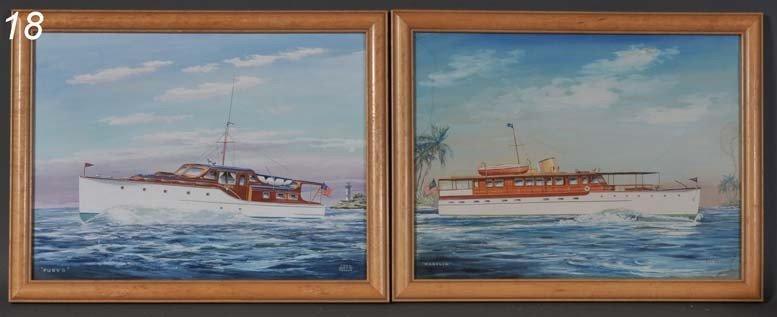 "18: JOHN AUSTIN TAYLOR Pair watercolors of Yachts 15""x"