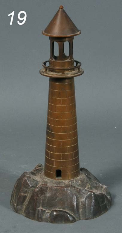 "19: BRONZE LIGHTHOUSE LAMP 16"" high early 20th century"