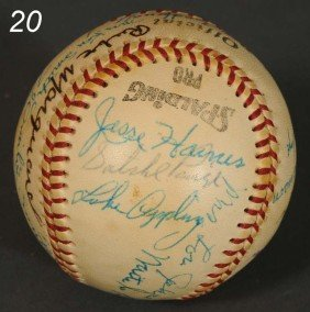 20: OLD TIMES DAY 1973 SIGNED BASEBALL WITH WIVES inclu