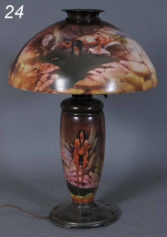 "24: OBVERSE PAINTED ""NATIVE AMERICAN"" TABLE LAMP with l"