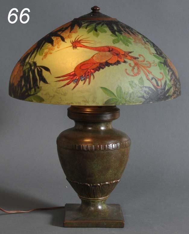 "66: HANDEL REVERSE PAINTED TABLE LAMP exotic birds 18"""