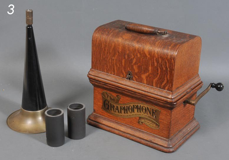 """3: COLUMBIA """"GRAPHOPHONE"""" CYLINDER PHONOGRAPH with two"""