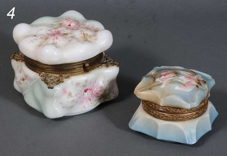 """4: PAIR OF WAVECREST BOXES one Nakara 4 1/2"""" and 3"""" hig"""
