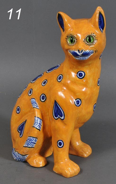 11: FRENCH GALLE STYLE FAIENCE CAT signed Mosanic, 12 1