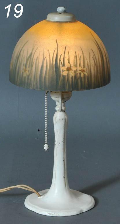 19: HANDEL BOUDIOR LAMP with reverse painted shade mark