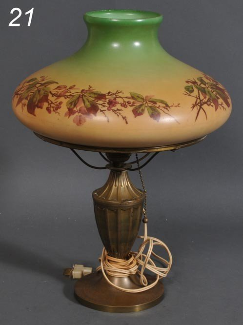 """21: VICTORIAN OIL LAMP WITH SIGNED HANDEL SHADE 12 1/2"""""""