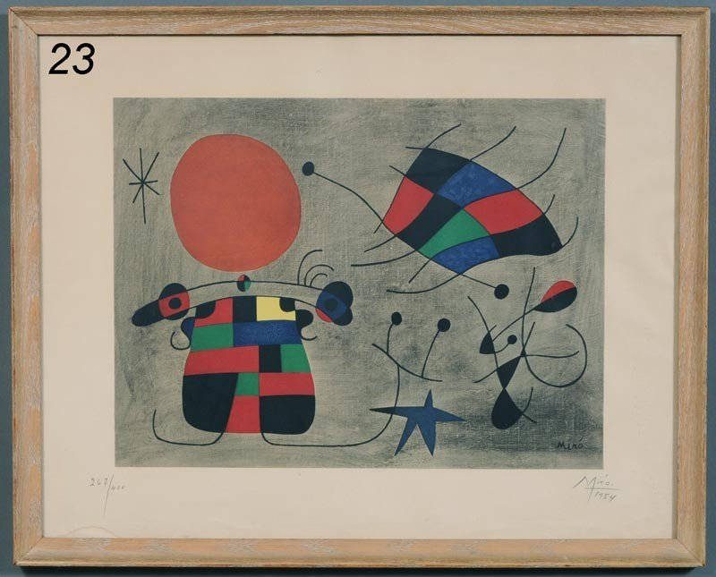 """23: JOAN MIRO color lithograph 13 1/2""""x 18"""" dated 1954,"""