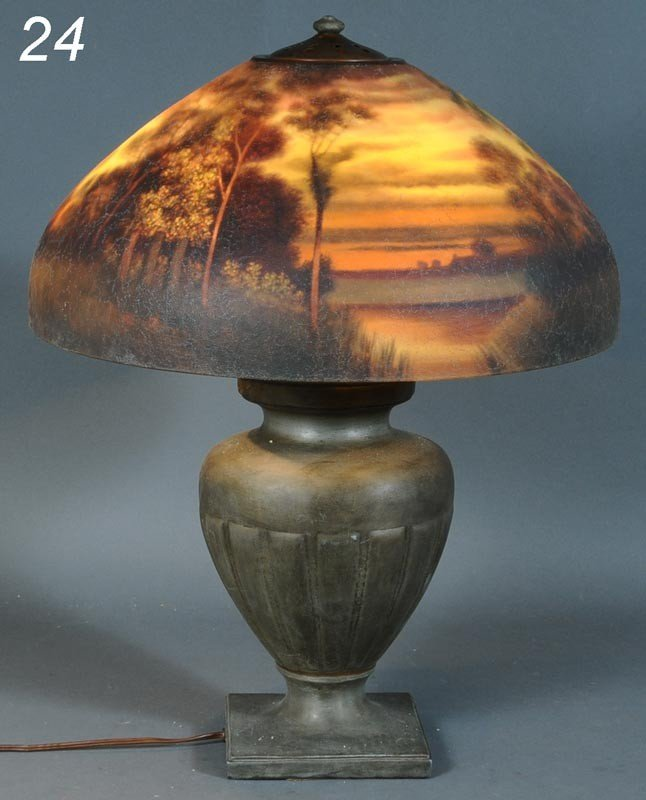 """24: HANDEL REVERSE PAINTED SCENIC TABLE LAMP with 18"""" s"""