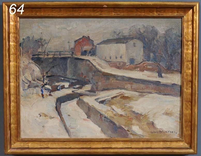 """64: JOHN FOLINSBEE Winter Lock 12"""" x 16"""" oil on canvas"""