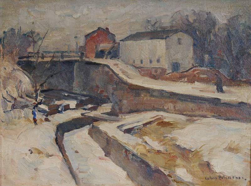 """64: JOHN FOLINSBEE Winter Lock 12"""" x 16"""" oil on canvas  - 2"""