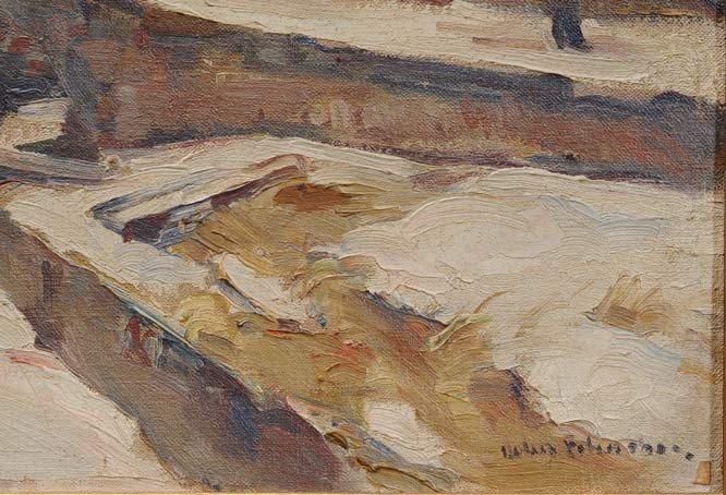 """64: JOHN FOLINSBEE Winter Lock 12"""" x 16"""" oil on canvas  - 3"""