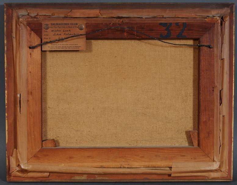 """64: JOHN FOLINSBEE Winter Lock 12"""" x 16"""" oil on canvas  - 4"""