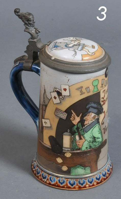 3: METTLACH POTTERY BEER STEIN stamped 2090, dated 1893
