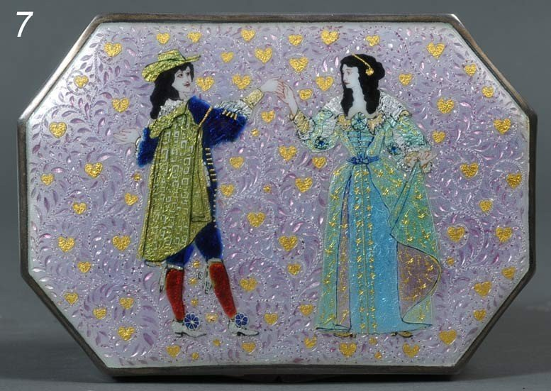 7: ENAMELED SILVER DRESSER BOX with dancing couple, hea