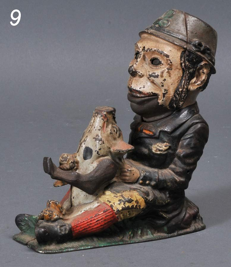 """9: PADDY AND THE PIG MECHANICAL BANK 8"""" high late 19th"""