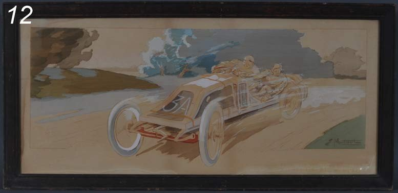"""12: FRENCH CAR RACING STONE LITHOGRAPH E. Montaul, 14""""x"""