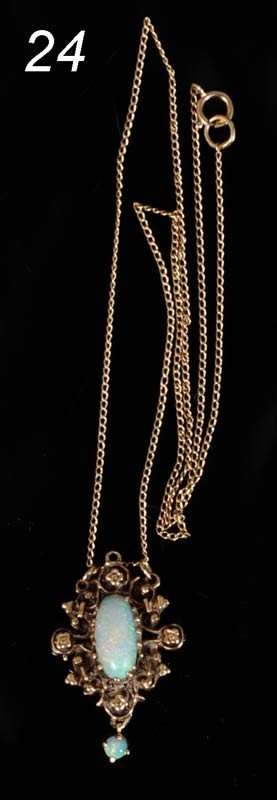 24: OPAL 14KT GOLD NECKLACE   Shipping Information:  Sh