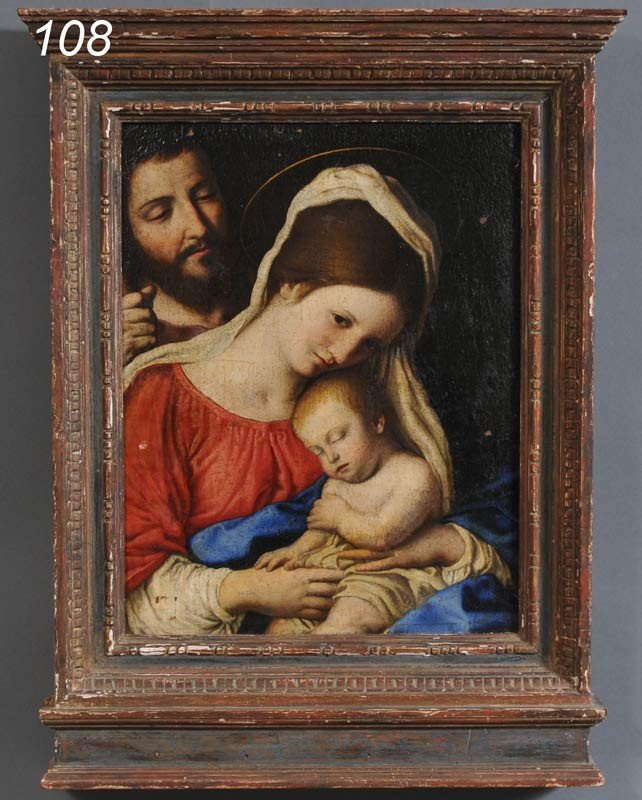 """108: ITALIAN OLD MASTER Madonna and Child 17 1/2""""x 13 1"""