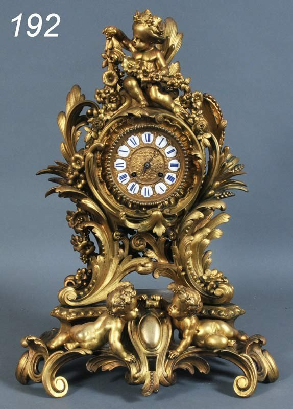 192: FRENCH ROCOCO STYLE BRONZE MANTLE CLOCK Japy Frere