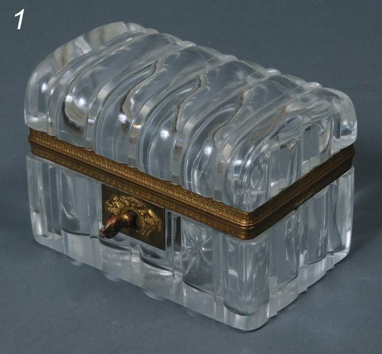 "1: FRENCH CRYSTAL DRESSER BOX 5 1/4"" long early 20th ce"